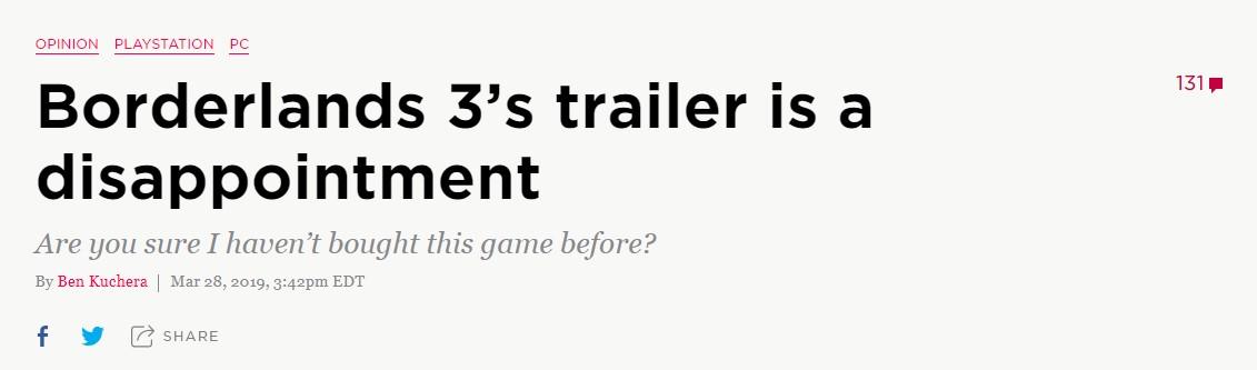 外媒:《无主之地3》的预告令人失望 你确定我之前没买过这个游戏吗?