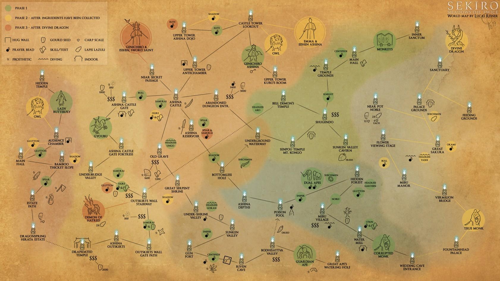 大神自制 《只狼》 地图 标出全部BOSS佛渡道具和事件
