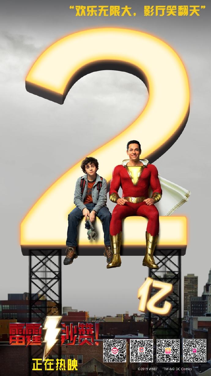 《雷霆沙赞》上映三天国内票房破2亿元 实在太火了