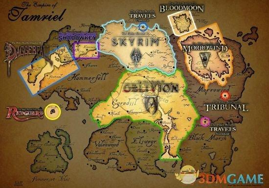 《上古卷轴》系列地图位置分布说明