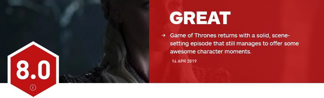 (剧透警告)《权游》终季首集IGN8分 IMDb9.4 烂番茄97%