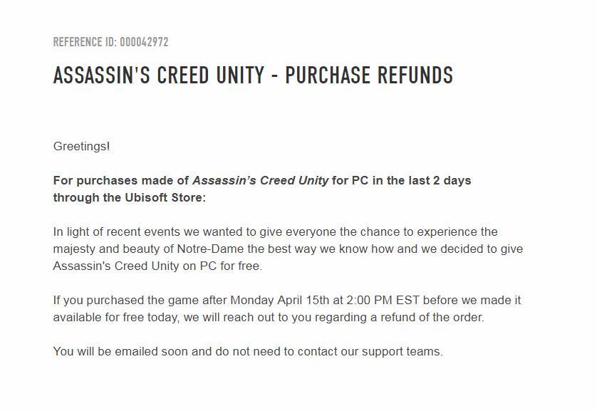 良心到家!育碧决定给周内购买《刺客信条大革命》的用户退款