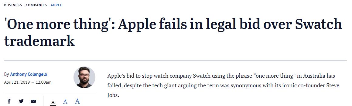 """苹果公司败诉 Swatch仍可使用""""one more thing"""""""