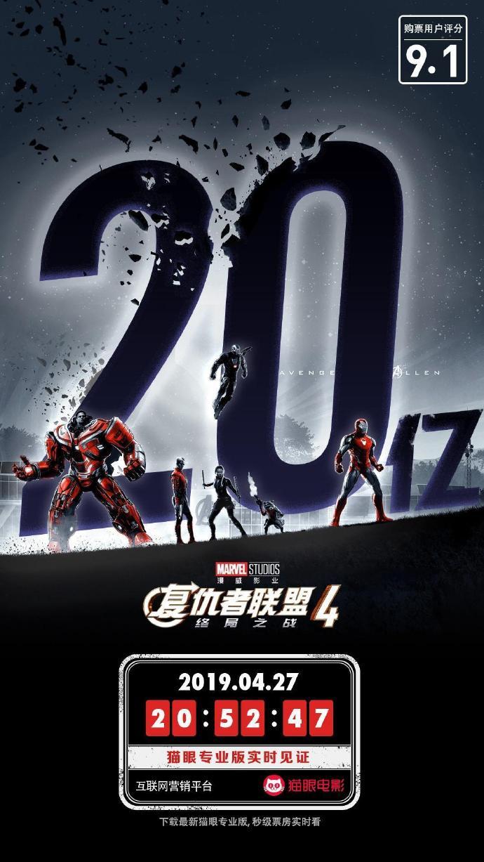 《复联4》国内票房破20亿!成中国影史最快破20亿电影