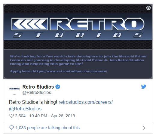 《银河战士Prime 4》开发商Retro招募人才进行开发