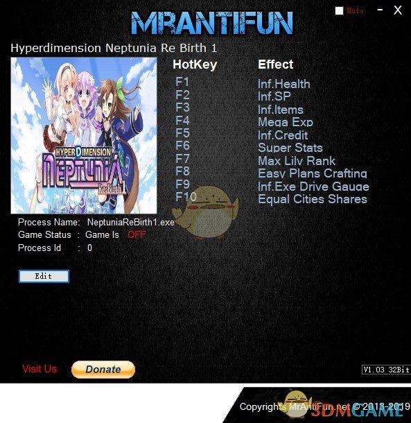 《超次元游戏海王星:重生1》v2019.05.02十项修改器[MrAntiFun]