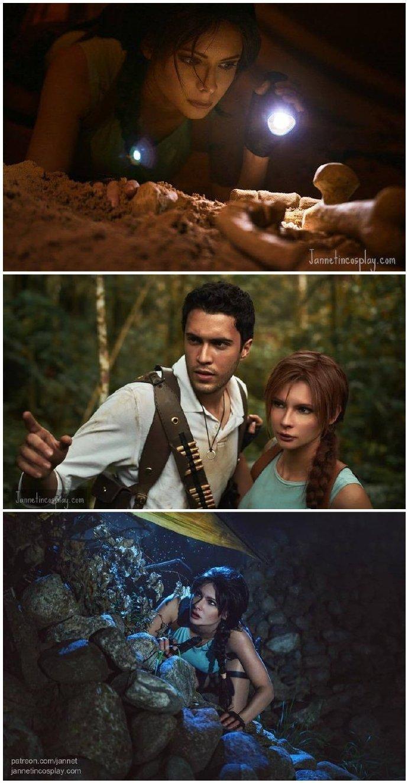 美女Cos《古墓丽影》劳拉 爆乳妹和恐龙亲密接触