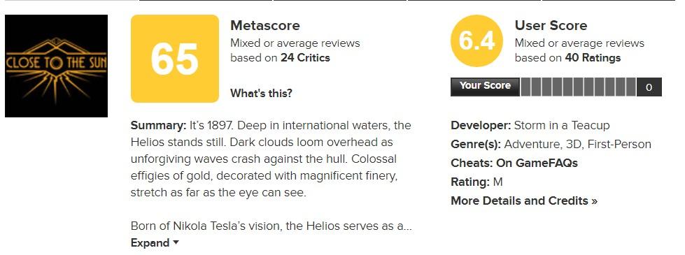 生化奇兵+逃生+万众狂欢  《靠近太阳》 IGN给7.2分