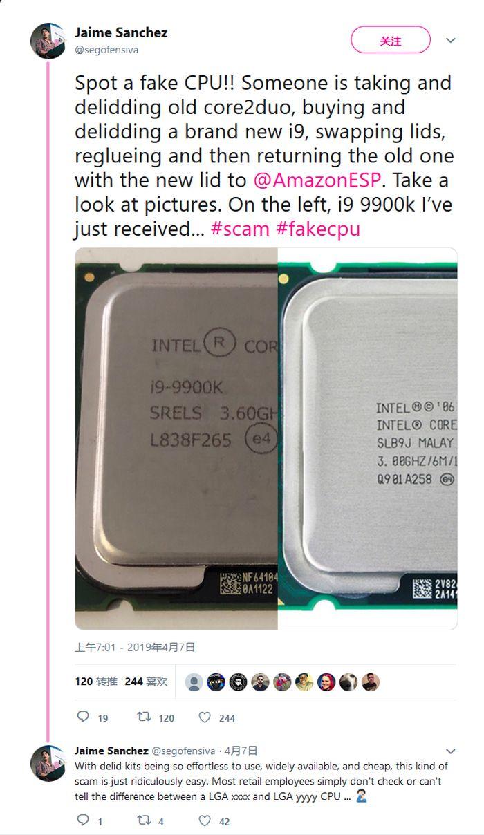 <b>男子在亚马逊自营买到假酷睿i9-9900K 竟是酷睿2Duo换壳</b>