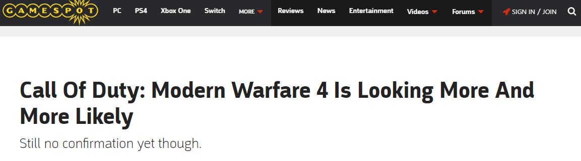 <b>外媒分析:《使命召唤16:现代战争4》或许真要来了</b>