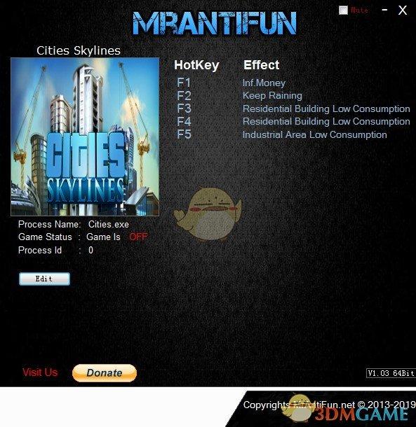 《城市:天际线》v1.11.0五项修改器[MrAntiFun][新]