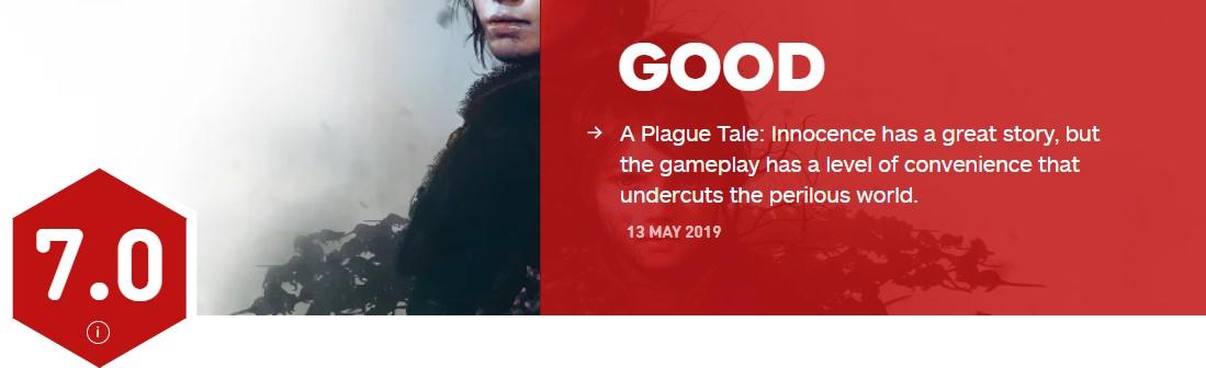 《瘟疫传说:无罪》IGN 7分 故事优秀但玩法过于简单