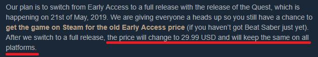 《节奏光剑》正式版5月21日推出 Steam版价格将提高