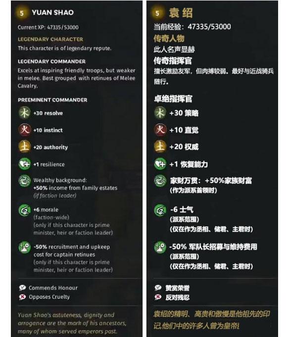 《全面战争:三国》土属性武将袁绍先天属性一览