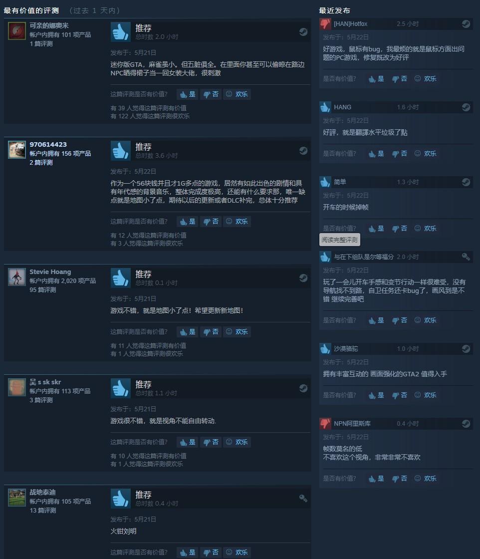 迷你版GTA!《美国逃亡者》Steam特别好评