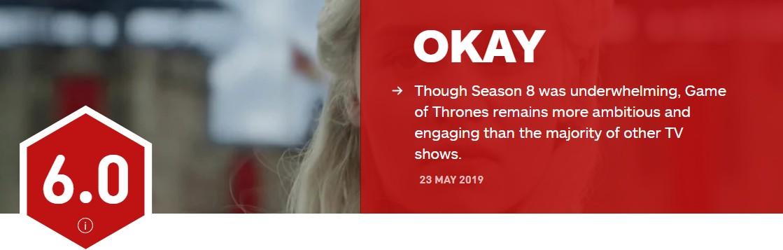 《权游》第8季 IGN终评6分:龙妈应该有个更好的结局