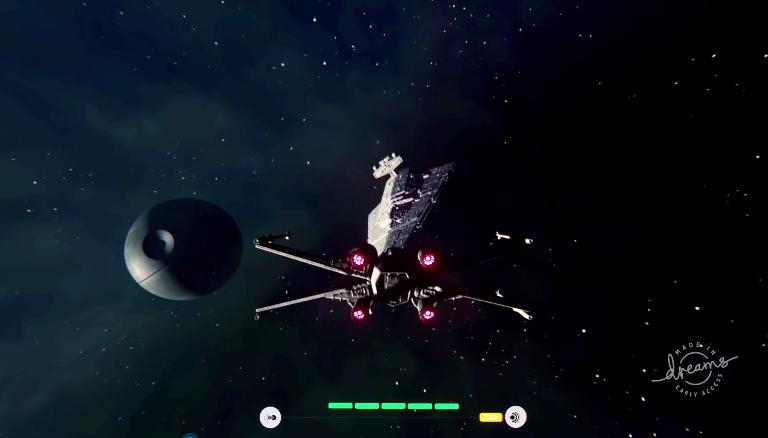高玩用PS4《梦境》还原《星球大战:X-翼战机》场景