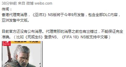香港代理商爆料:《巫師3》年度版將登陸Switch
