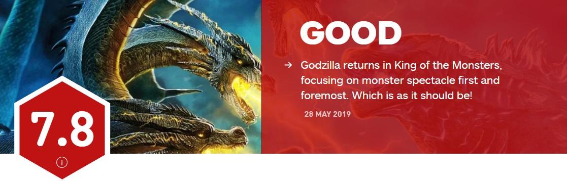 《哥斯拉2:怪兽之王》 IGN 7.8分 M站50分 烂番茄仅56%