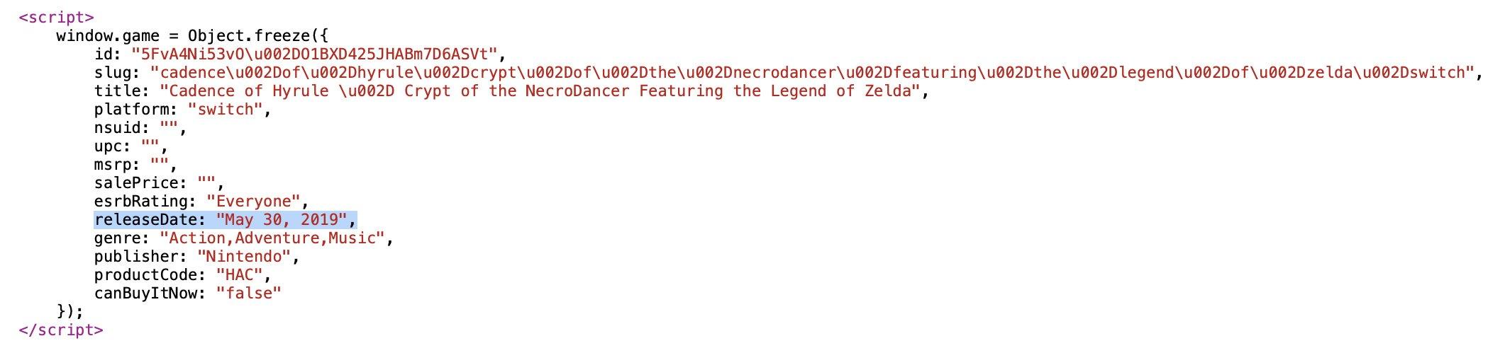 <b>商店HTML代码泄露天机 《节奏海拉鲁》或于6.20发售</b>
