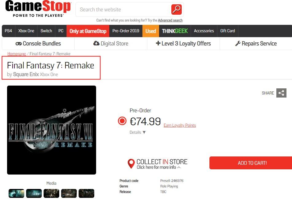 <b>《最终幻想7:重制版》Xbox One版曝光 或于2020年上半年发售</b>