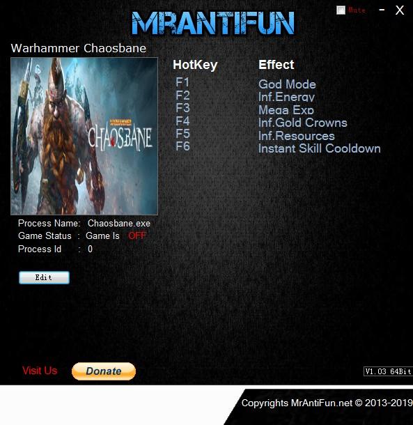 《战锤:混沌祸根》v1.0六项修改器[MrAntiFun]