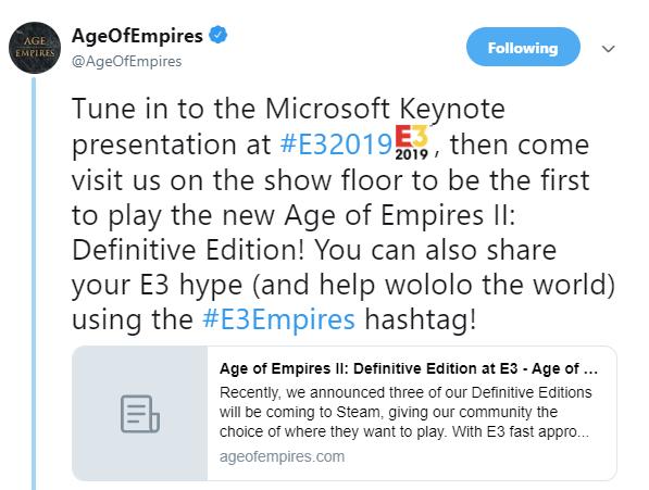 《帝国时代2:终极版》确认参展E3 游戏首张概念图放出