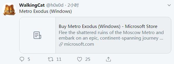 微软商城上线PC版《地铁:逃离》页面 Epic独占将结束?