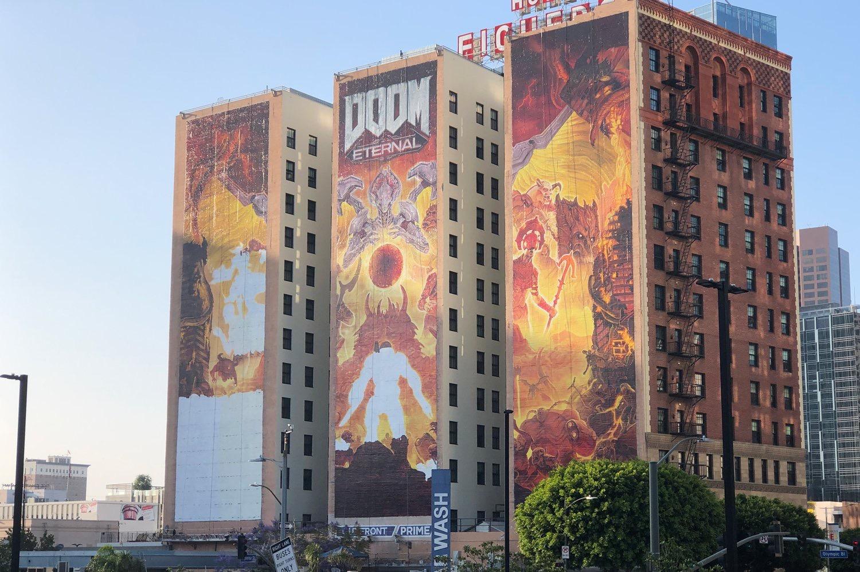 B社下血本了 《毁灭战士:永恒》E3宣传广告占满三栋楼
