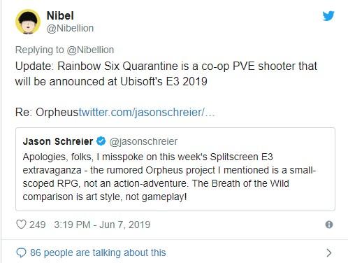 《彩虹六号:封锁》泄露 育碧不会公布《细胞分裂》新作