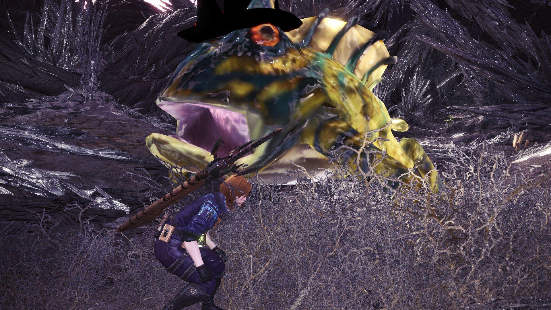 《怪物猎人:世界》巨大化带帽子的麻痹瓦斯蛙替换灭尽龙Mod