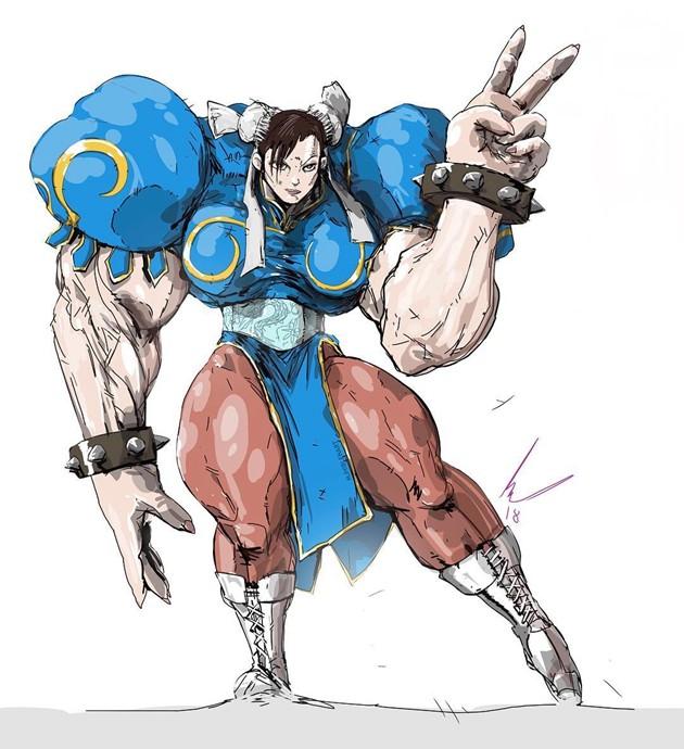国外插画师给动漫角色加上麒麟臂 很粗很大很强