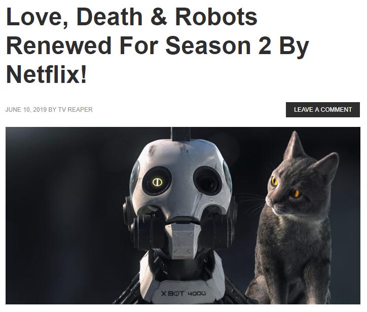 《爱,死亡与机器人》第二季获续订 将于2020年推出