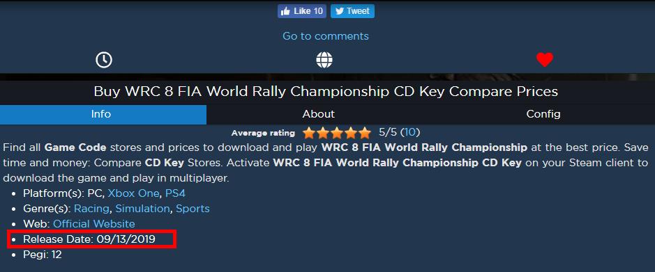 《世界汽车拉力锦标赛8》发行日期泄露 或9月13日上市