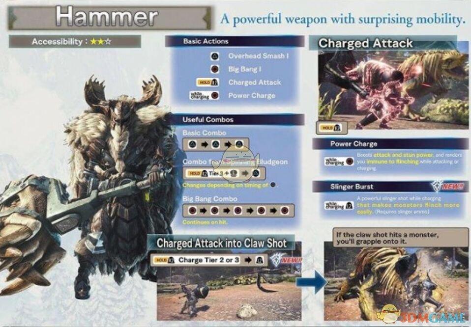 《怪物猎人:世界 冰原世纪》锤子新动作按键操作指南