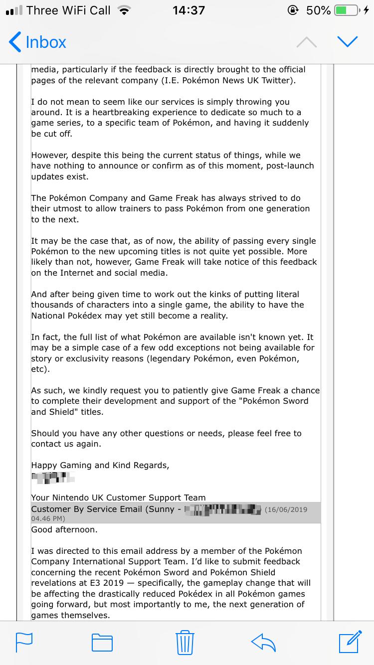 全国图鉴有戏!粉丝公开任天堂官方对《剑/盾》的回复邮件