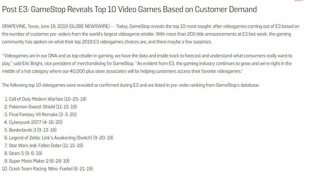 《COD》不愧年货王 全球最大零售商E3期间游戏预购量前十榜单