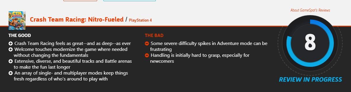 完美超越原版!《古惑狼賽車重制版》IGN 8.2分