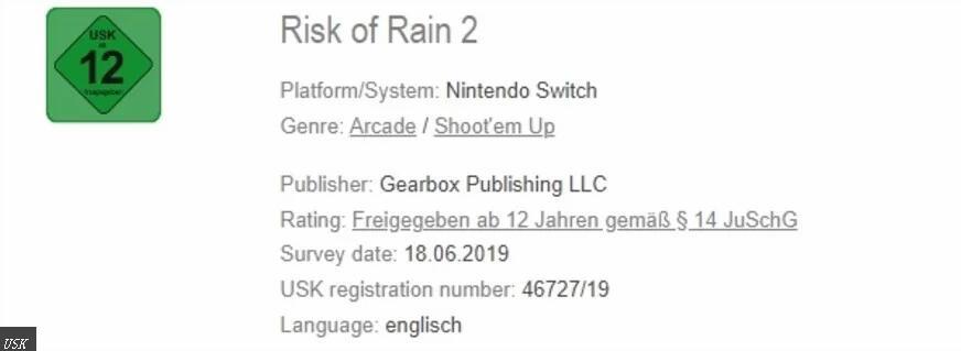 《雨中冒险2》通过德国官方评级 Switch版上架有望