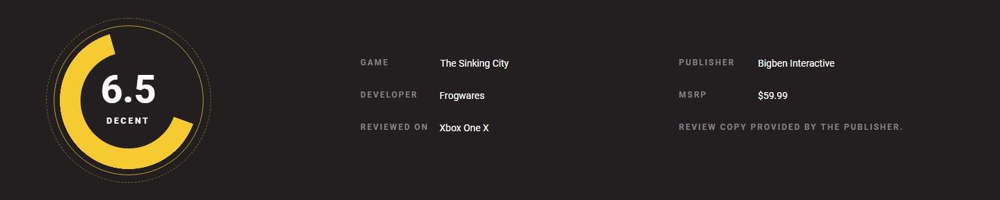 《沉没之城》媒体分解禁 IGN 7.8分 GameSpot仅3分