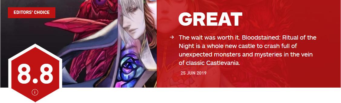 《血污:夜之仪式》IGN 8.8分 《恶魔城X:月下夜