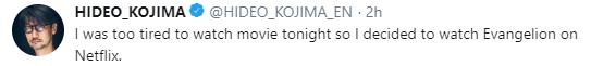 小岛秀夫表示自己太累了 只想在网飞上看《EVA》