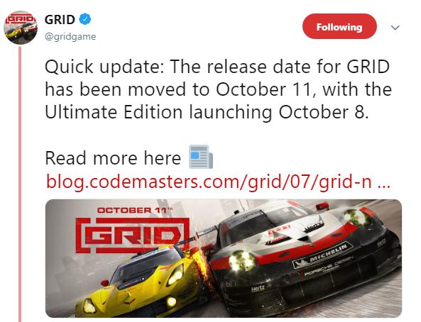 Codemasters系列重启作 《超级房车赛》 发售延期至10月11日