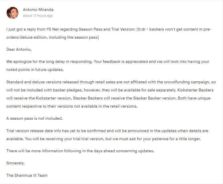 国外玩家发《莎木3》官方回复 众筹者无法获预购奖励?