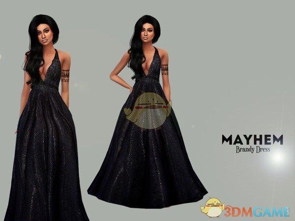 《模拟人生4》女性优雅黑色长裙MOD