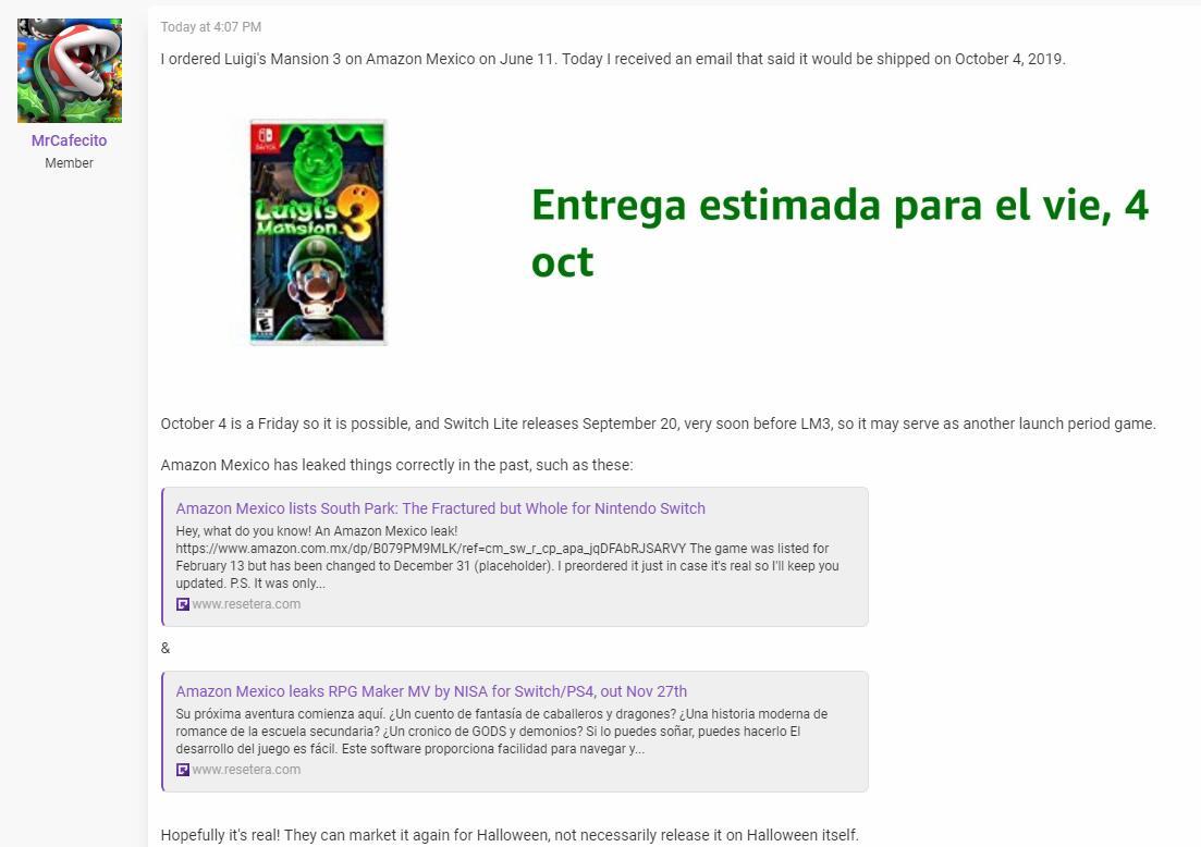 基本操作!墨西哥亚马逊泄露《路易鬼屋3》发售日