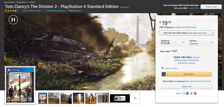 《全境封锁2》加入了亚马逊的促销行列 实体标准版游戏仅需20美元
