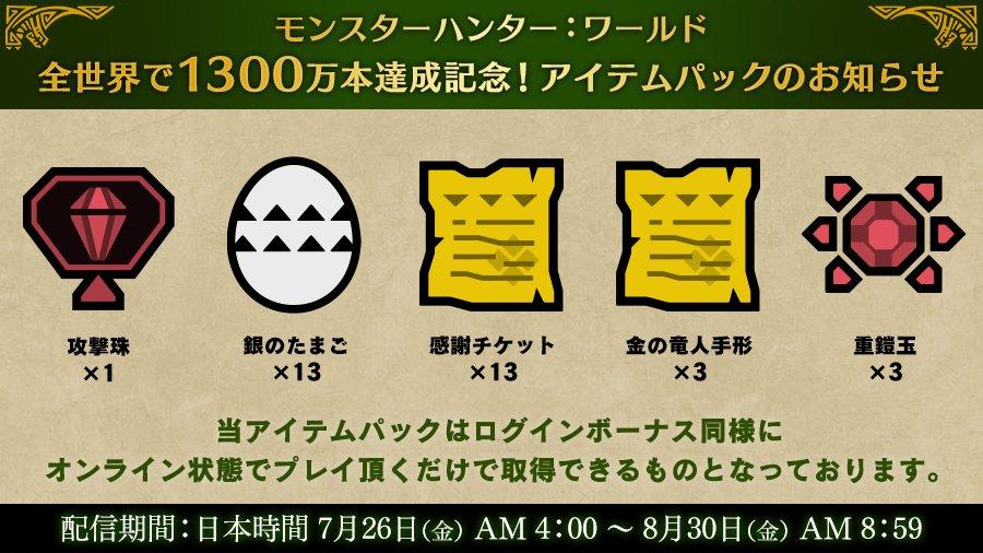 《怪物猎人:世界》全球出货量破1300万官方送礼包