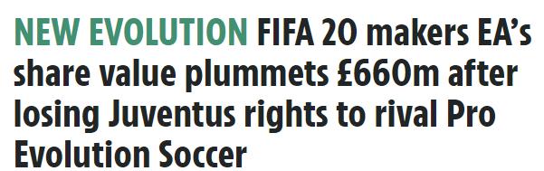 《实况足球》与尤文图斯独家合作后 EA市值蒸发6.6亿英镑