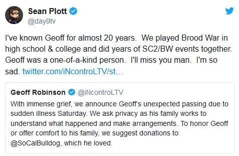《星际争霸2》知名解说员 InControl去世 年仅33岁